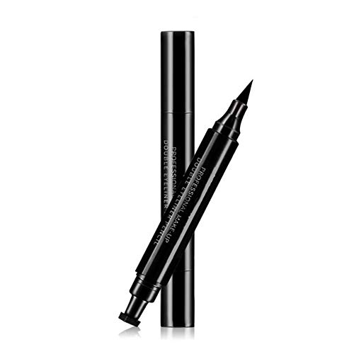CYGG Double-headed Eyeliner with Triangular Stamp Waterproof No Smudging Long Lasting Home Travel Portable Women Girls Beauty Makeup