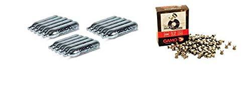 DataPrice Pack 15 bombonas CO2 12gr. Gamo + 250 Balines Gamo Match 4,5 mm. para Pistolas y Carabinas