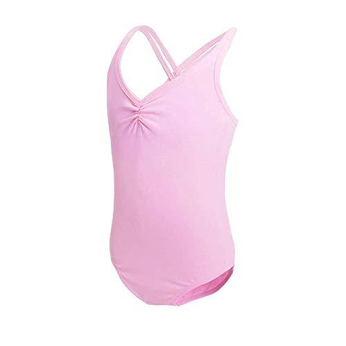 HiDance Ballet Leotards, Cotton Camisole Ballet Leotards for Girls/Toddlers/Kids, Double Strap Gymnastics and Ballet Dancewear Pink 4XL(9-10 Years)