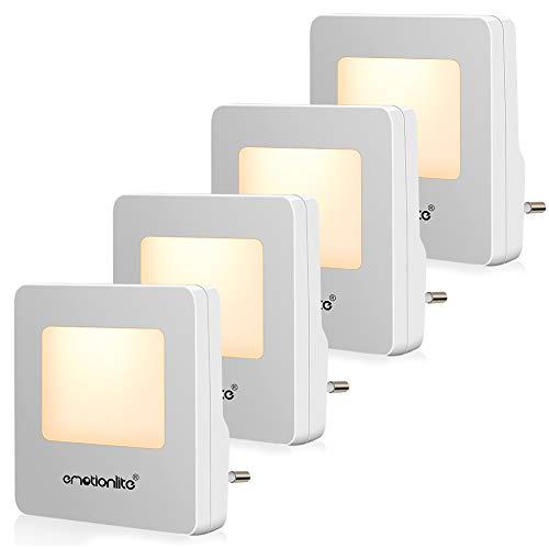 Luz de Noche de LED de Emotionlite con Sensor crepuscular.Buena para la habitación de los niños, el baño, el pasillo el armario o cualquier habitación oscura.2700K (4 Paquete)