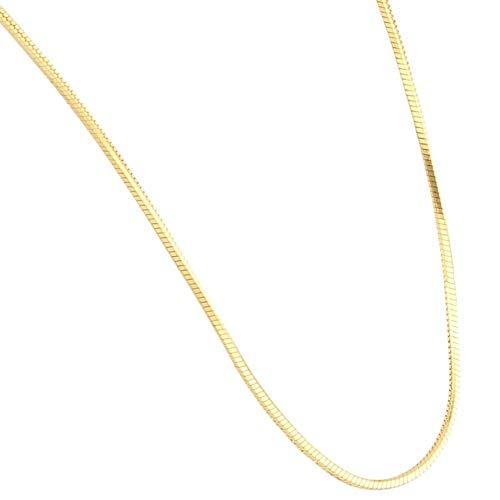 Jollys Jewellers Cadena de serpiente de oro amarillo de 9 quilates de 45,72 cm (1 mm de ancho) | Collar único para mujer