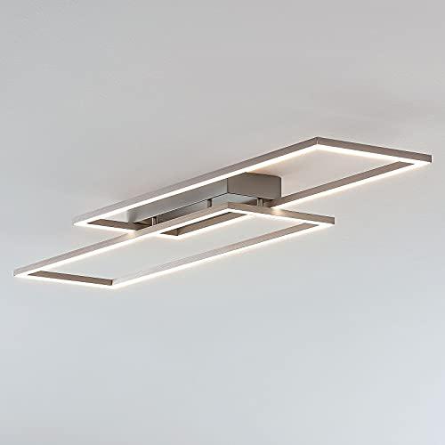 Lucande LED Deckenleuchte 'Quadra' dimmbar (Modern) in Alu aus Edelstahl u.a. für Wohnzimmer & Esszimmer (2 flammig, A+, inkl. Leuchtmittel) - Lampe, LED-Deckenlampe, Deckenlampe, Wohnzimmerlampe