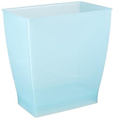 InterDesign Mono Wastebasket Trash Can for Bathroom, Kitchen, Office - Frost
