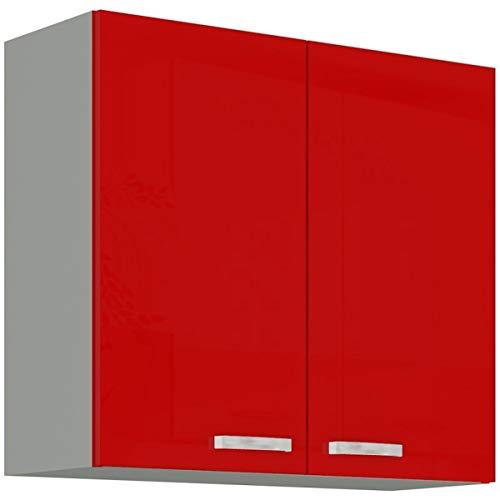 Küchen Hängeschrank 80 Glanz Rot Grau Küchenzeile Küchenblock Küche Rose Bianca