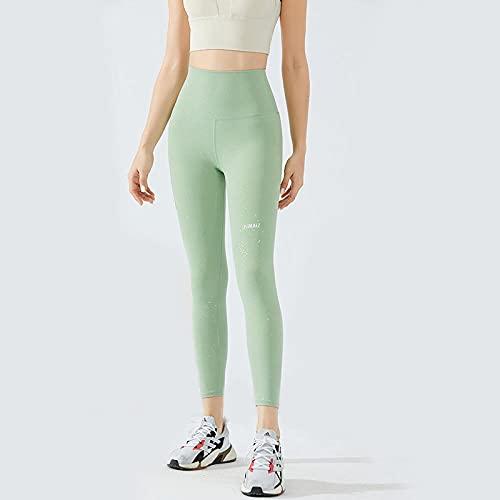 Leggings Mujer,Pantalones de chándal de alta elasticidad, pantalones de yoga con levantamiento de cadera, pantalones de fitness con estampado de letras sin costuras, pantalones brillantes de verano,