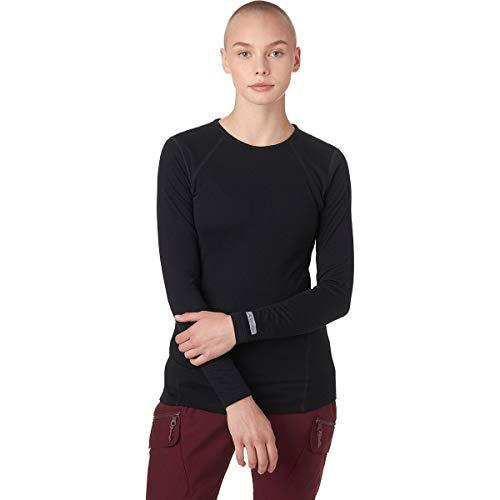 Terramar Women's 2-Layer Authentic Thermal Mid-Weight Long Sleeve Crew Hoodie, Black, Medium (10-12)