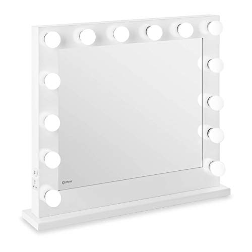 Physa Espejo Hollywood De Maquillaje Phy-CM-8 White (Marco Blanco, 14 Bombillas LED 6.400 K / CRI 80, Rectangular, con Enchufe y USB)