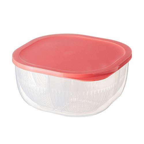 Caja de almacenamiento para alimentos y frutas con 4 compartimentos, tamaño grande de 2 capas, caja de drenaje transparente de polipropileno