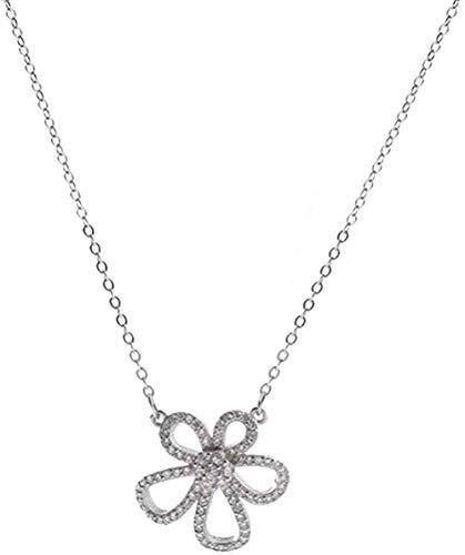 Halskette Fünf Blütenblatt Blume Halskette Weiblich Silber Koreanisch Einfache Persönlichkeit Temperament Schlüsselbein Kette Fee Mädchen Süß Zart Silber Halskette für Frauen Männer Geschenke