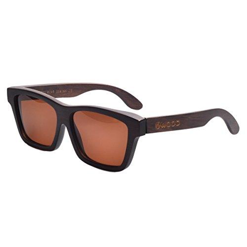 Iwood Unisex Wayfarer Retro Revo color de la lente gafas de sol de madera
