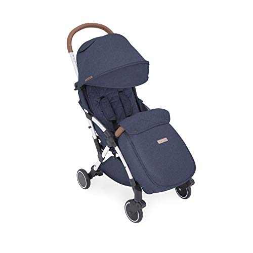 Ickle Bubba Globe Max Stroller   Ultra-Compact Travel Pushchair   from Birth to 3 Years   UPF 50 Hood, Rain Cover, Seatliner & Footmuff, Cup Holder   Denim Blue on Silver Frame