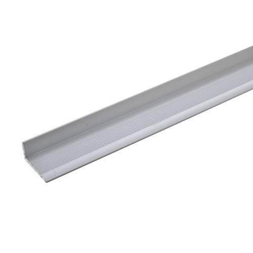 acerto 35786 Aluminium Abschlussprofil 90cm – silber 8 x 18,4mm, selbstklebend * Robust * Leichte Montage | Aluprofil als professionelles Wandanschlussprofil Wand-Abschlussleiste für Laminat & Parkett