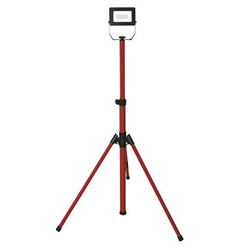 Velamp IS749-2 proyector LED en trípode, 1600lm 20W, Rojo, Cable de 3m, Resistente al Agua IP65. Uso al Aire Libre, Obras, Fiestas y Barbacoa en el jardín, 20 W, Negro