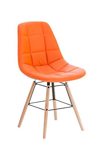 CLP Esszimmerstuhl Tammy mit Kunstlederbezug | Lehnstuhl mit Buchenholzgestell | Polsterstuhl | Sitzhöhe: 47 cm, Farbe:orange