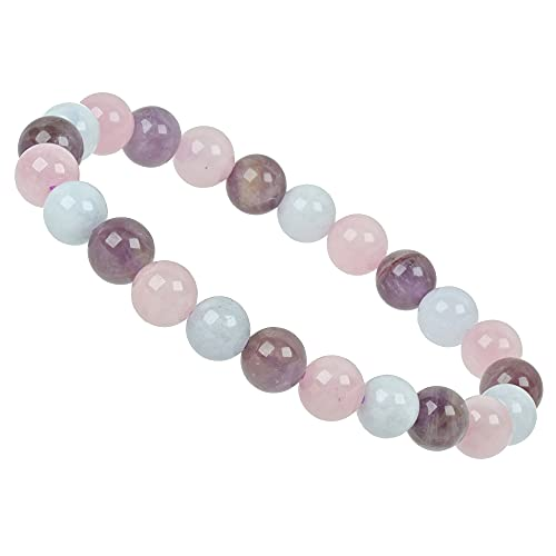 ELEDORO Aquamarin Rose Cuarzo Amatista genuinas perlas Charkra pulsera PowerBead Stretch perlas pulsera