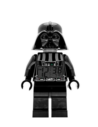 Lego Star Wars 9002113 Darth Vader Kinder-Wecker mit Minifigur und Hintergrundbeleuchtung, schwarz/grau, Kunststoff, 24 cm hoch, LCD-Display, Junge/Mädchen, offiziell