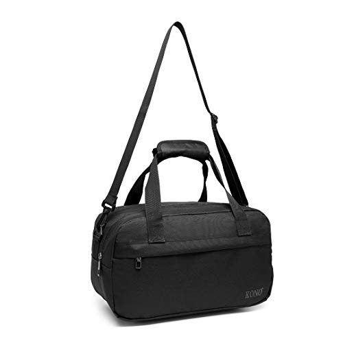 Kono 35x20x20 Holdall Cabin Luggage Travel Bag Under Seat Flight Bag with Shoulder Strap 14L (Black)