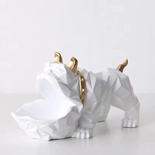 Overvloedi 1pcs Big Mouth Resin Dog Statue, Escultura de Entrada, Llave de Armario, Caja de Almacenamiento de Caramelos, Figuras Bulldog, Decoración de Escritorio Artesanal para el hogar White