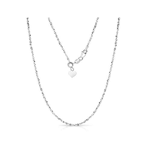 Sterling Silver 1.5MM Fancy Italian Adjustable Diamond Cut Twisted Serpentine Sparkle Chain Necklace- Silver Slider Necklace 4 Colors (Silver)