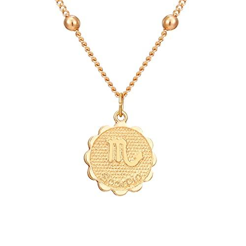 ZhenS 12 Constelaciones Moneda Colgante Collar Oro Signo del Zodiaco Aries Leo Collar Mujeres joyería Doce horóscopo clavícula Collar-Escorpio