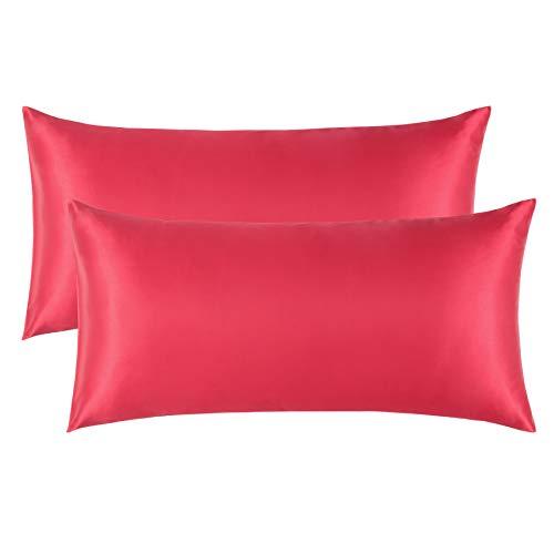 Bedsure Funda Almohada 40x80cm Satén Rojo - Juego de 2 Fundas Almohadas 80x40 Pelo Rizado, Muy Liso Suave de 100% Microfibra, Antiarrugas sin Cremallera, 2 Piezas