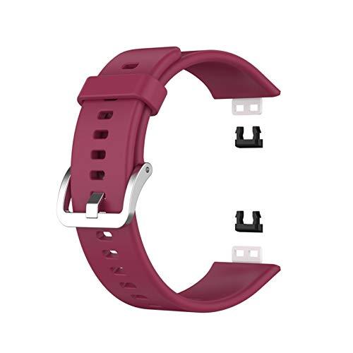 SGGFA Gummi-Armband für Huawei Watch Fit Smart Armband Zubehör Ersatz Sport Band Fit Displayschutzfolie (Bandfarbe: Rotwein)