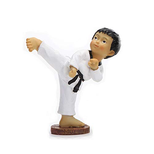 LUCKY-SCUL Wohnkultur, Skulptur/Statue, Charakter-Statue, Taekwondo, Kampfkunst-Puppensouvenir, Kleine Skulptur, Büro/Auto-Minidekoration,E