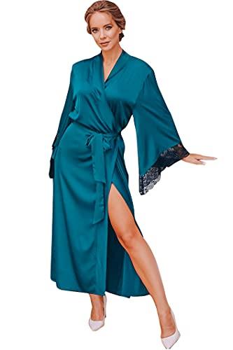 FyoFya Kimono Albornoz para Mujer Batas y kimonos Satín sedoso Camisón Robe Albornoz Dama de honor Ropa de dormir Pijama Cordón Para fiesta Spa Hotel Sauna con Cinturón (Lago azul, One Size)