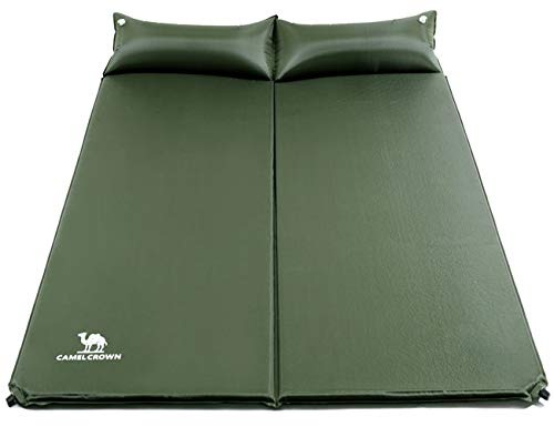 CAMELSPORTS Lightweight Double Self-Inflating Sleeping Pad with Attached Pillow Great for 2 Person Camping, Hiking, Backpacking,Beach (Army Green)