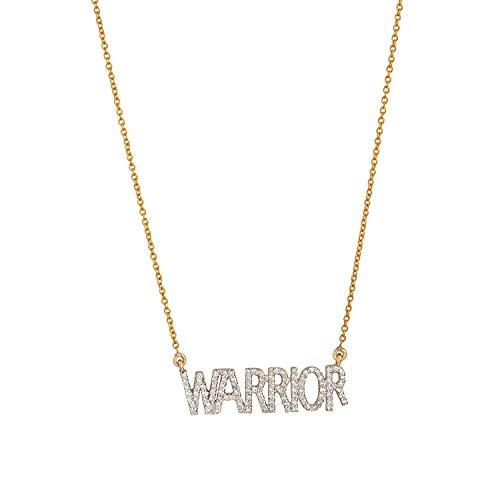 Collar certificado de oro amarillo de 14 quilates con letras de guerrero pavimenta diamantes de talla brillante de 0,44 quilates (color H I, claridad Si1-Si2) para el cuello para mujer