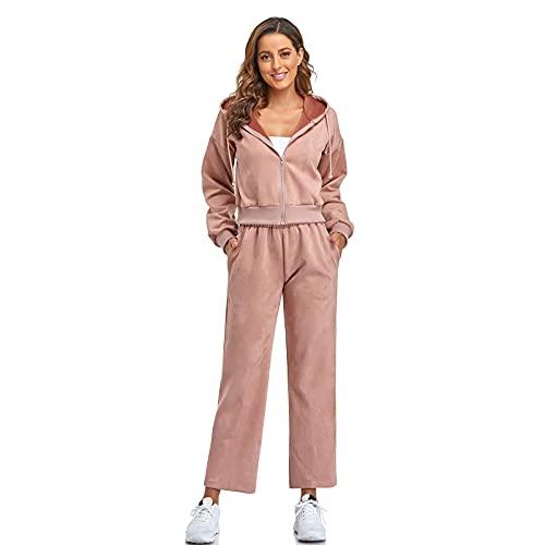 Dihope - Conjunto de 2 piezas de chándal para mujer, con capucha, sudadera, pantalón de deporte, informal, para otoño e invierno, rojo claro, M