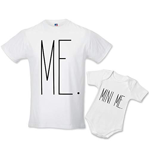 FP-038 Idea Regalo Coppia di T-Shirt e Body Papa' Figlio Me And Mini Me Bianche Uomo L - Bimbo 3 Mesi