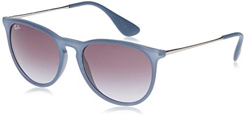 Ray-Ban Women's RB4171 Erika Round Sunglasses, Rubber Blue/Grey Gradient, 54 mm