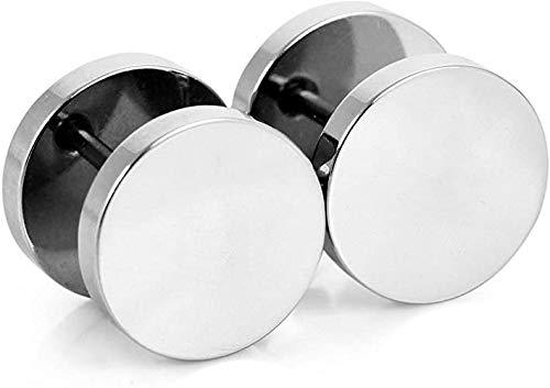 Par de pendientes pendientes de acero titanio para hombre y mujer, falso dilatador, color plateado y acero