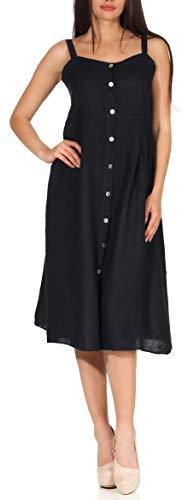 malito dames linnen jurk | chique vrijetijdsjurk | ingetogen strandjurk | klassieke zomerjurk - Partyjurk 8709