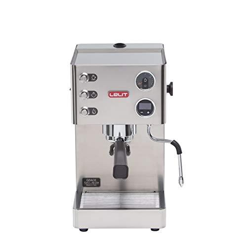 Lelit Grace PL81T semi-professionelle Kaffeemaschine für Espresso-Bezug, Cappuccino und Kaffee-Pads-Gebürstetes Edelstahl-Gehäuse-LCD Display und LCC elektronisches Kontrollsystem, 2.7 liters