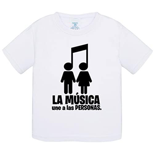 Camiseta bebé La música une a las personas pareja chico chica - Blanco, 1 año