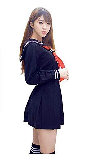 Evalent - Costume de marin japonais - Veste + Jupe + Cravate + chaussettes - Uniforme d'écolière - Pour déguisement