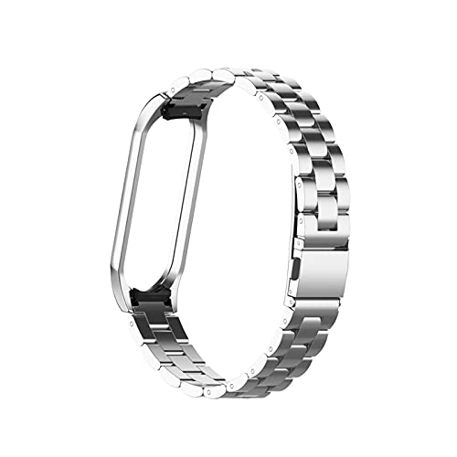 Jun store Reloj Fit Fit for MI Band 3 4 5 6 Smart Pulsera en Fit para MI BAND 4 Acero inoxidable Reemplace Strap Fit para Xiaomi 6 5 4 3 Strap pulsera ( Band Color : Silver , Size : For miband 3 4 )