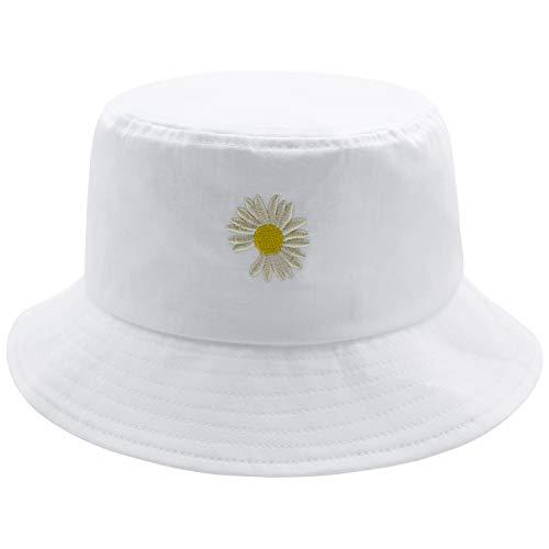 Flower Bucket Hat Summer Travel 100% Cotton Packable Beach Sun Hat Embroidery Visor Outdoor Cap (White)