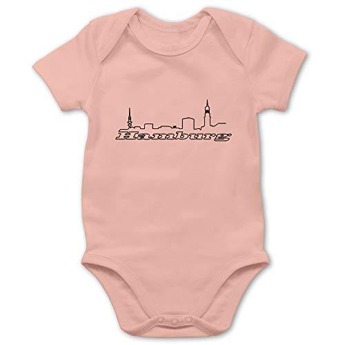 Städte & Länder Baby - Hamburg Skyline - 12/18 Monate - Babyrosa - Hamburger jung Body - BZ10 - Baby Body Kurzarm für Jungen und Mädchen
