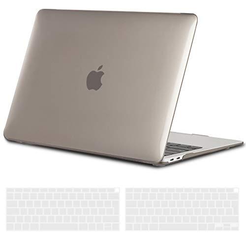 TECOOL Hülle für MacBook Air 13 Zoll Retina 2018 2019, Plastik Hartschale Schutzhülle Case und Transparent Tastaturschutz für Neuen Apple MacBook Air 13,3 Zoll Touch ID (Modell:A1932)-Kristall Grau