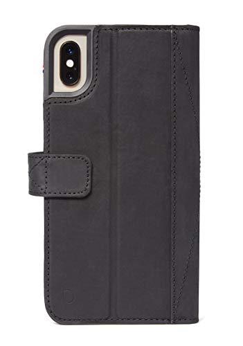 Decoded Drop Protection Wallet Hülle - hochwertiges, handgemachtes Leder - mit Kartenfächer, Fenster und Bargeld - fur Apple iPhone XS/X - Schwarz (XS Max, Schwarz)