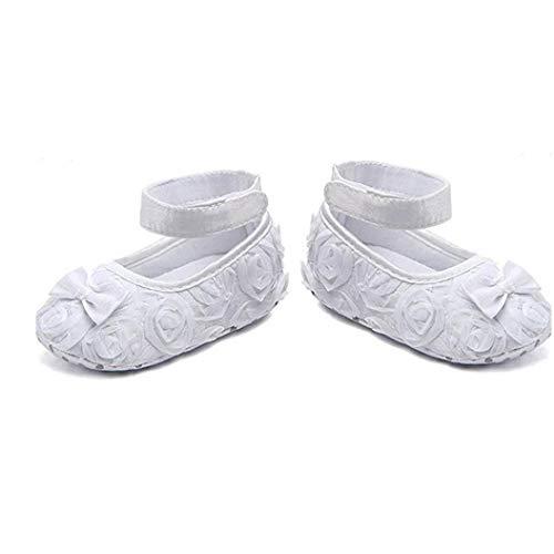 MaylFre Baby-Baby-Schuh-Nette Bogen-Kleid-Prinzessin Schuhe Pu Weiche Schuhe Mit Silk Rosen-Blume Und Bogen - Passend Für 6-12 Monate Mädchen (weiß)
