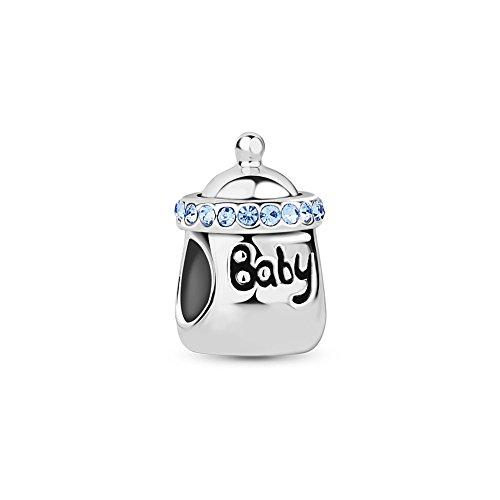 Tinysand - 925 Pur Argent Famille Biberon Bebe Charm, Compatible avec Bracelets Pandora