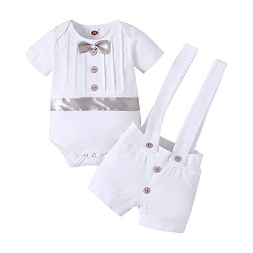 FYMNSI Traje de bautizo para bebé, traje de bautismo, traje de boda, traje de hombre, esmoquin, traje de algodón, tirantes y pantalones, 2 piezas, gris, 6-12 Meses