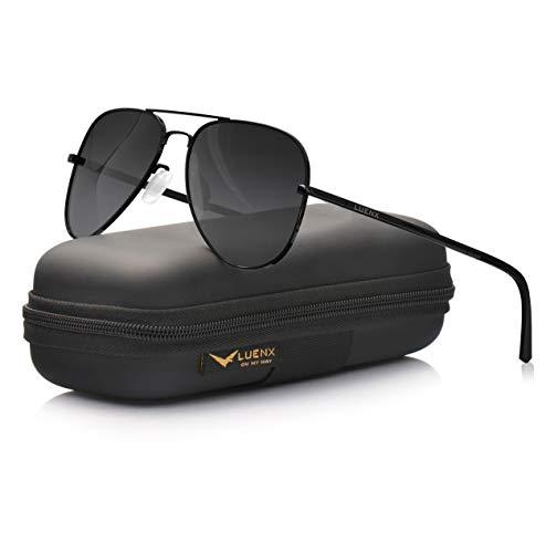 LUENX Aviator Sunglasses for Mens Womens Polarized Gradient Black Lens Metal Black Frame 60mm