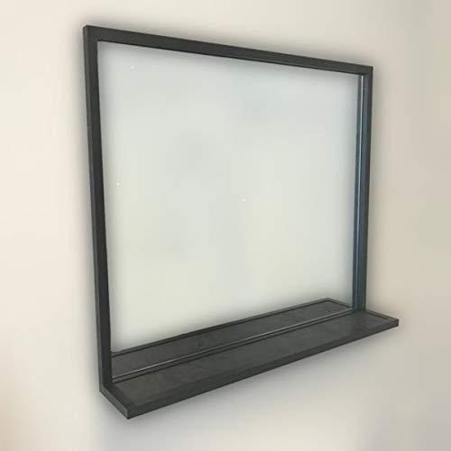 Badkamerspiegel Eternal met planchet, mat zwart 120x70x13cm