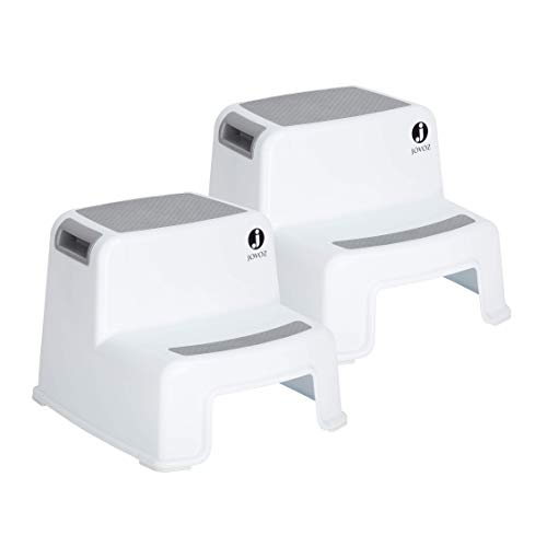 2 Step Stool for Kids (Pack of 2) - Toddler Stool for Toilet Potty Training and Use in The Bathroom or Kitchen - Non Slip Dual Height Step Stool for Kids - Slip Resistant Safety Feet Stools for Child