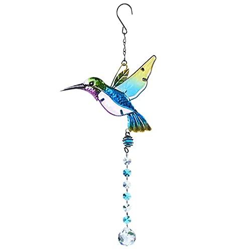 liuxia Colgante de cristal con diseño de atrapasueños de arcoíris con diseño de libélulas y pájaros, para colgar en la ventana o para colgar en
